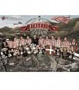 Desde las alturas vemos el antiguo Bilbao, la ría de Nervión, el ayuntamiento, el puente, barcos... y a lo lejos las industrias y las montañas. En primer plano vemos a los jugadores más representativos del Athletic sentados sobre el arco de San Mamés. La ilustración es una versión de la famosa fotografía de obreros sobre la viga de Nueva York. Sobre el arco están de izquierda a derecha a algunos de los máximos exponentes del mito que es el Athletic: Mr Petland, Pichichi, Zarra, Gainza, Panizo, Iribar, Dani, Rojo, Etxeberria, Julen Guerrero, Goiko y Argote. En los edificios bajo el arco dando nombre a diversas empresas vemos los nombres de otros grandes: Lezama, Javi Clemente, Urzaiz, Iraola, Orúe... (desgraciadamente el espacio es limitado y nos hubiera gustado poner a muchos más). La ilustración esté realizada por Paul Caballero Barturen, uno de los mejores ilustradores vascos del momento.
