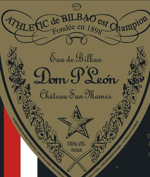 Poster a tres tintas planas: rojo, negro y dorado. La imagen es una reinterpretación de la etiqueta de Don Perignon. En este caso Dom P´León. Hace referencia a los Leones y a su fuerza para pelear. Y también al agua de Bilbao como siempre se ha llamado al champagne. La botella de champagne más cara del mundo y la que me por sabe, porque somos de Bilbao :)