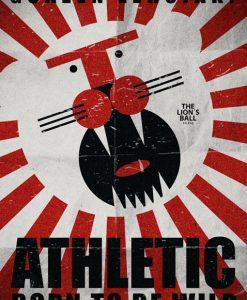 Ilustración de un león del Athletic rugiendo a partir de simples elementos geométricos: círculos, cuadrados, triángulos...