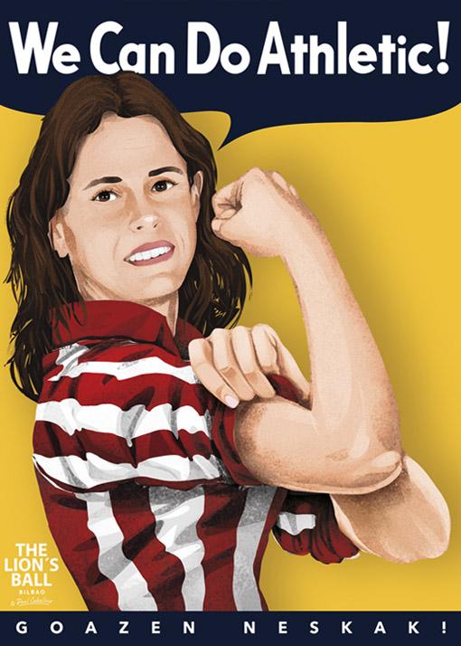 Versión del famoso cartel We can do it! para el Athletic femenino.