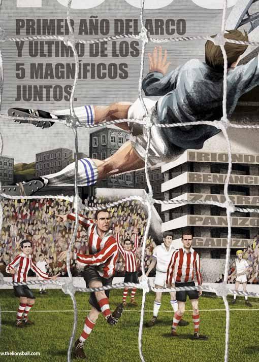 Los cinco magnificos del Athletic: Iriondo, Benancio, Zarra, Panizo y Ginza. Y nuestro querido arco de San Mamés.